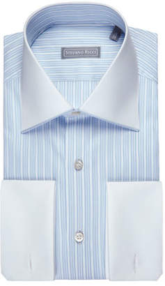 Stefano Ricci Striped Jacquard Dress Shirt with Solid Collar & Cuffs