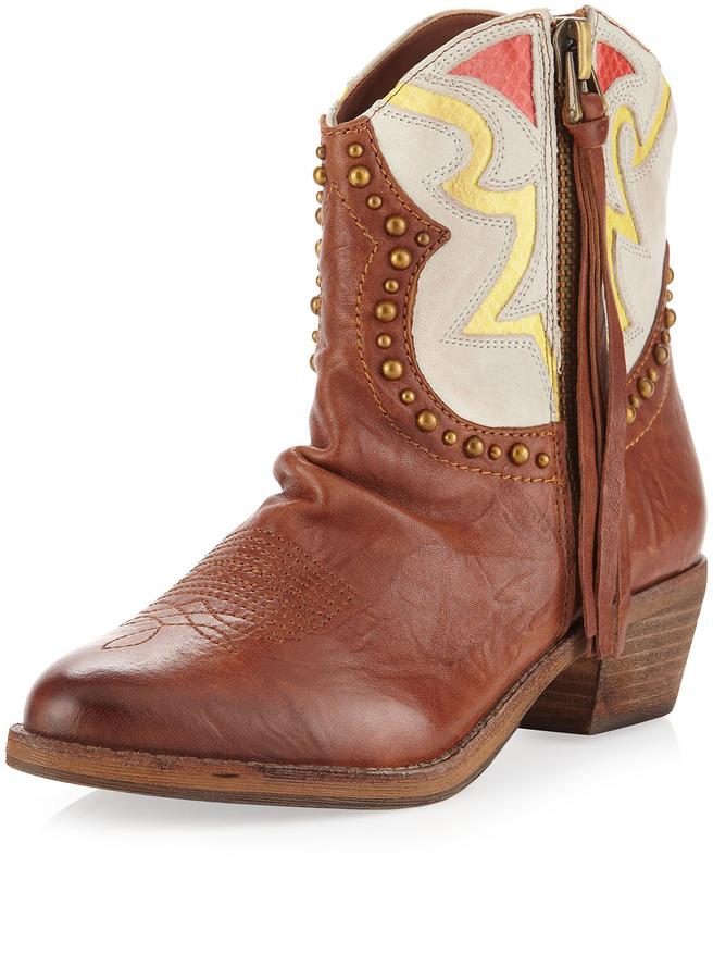 Sam Edelman Shane Zip Western Ankle Boot, Saddle/Ivory