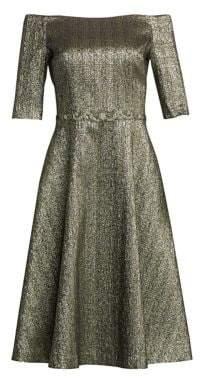 Off-The-Shoulder Metallic A-Line Cocktail Dress