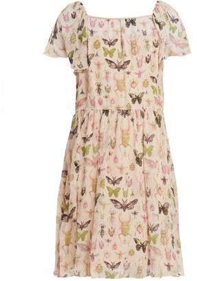 RED Valentino Bug Print Ruffle Trimmed Silk Chiffon Dress - Womens - Cream Multi