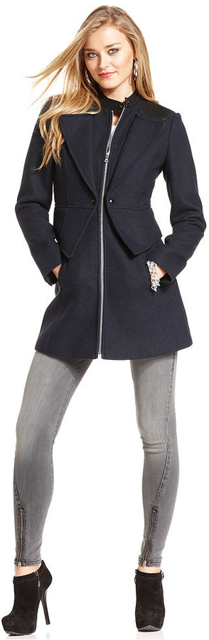 GUESS Coat, Wool-Blend Faux-Leather-Trim Peplum Peacoat