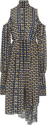 Rokh Cold-Shoulder Tie-Back Midi Dress
