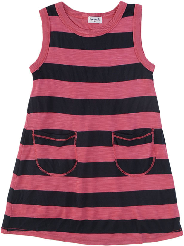 Navy Slub Shadow Stripe Dress