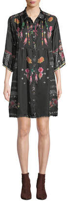 Johnny Was Agalia Lazer Printed Silk Tunic Dress