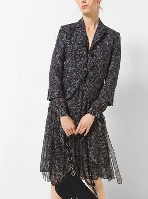 dd67966c5f7410 Michael Kors Tweed Silk-Chiffon Bow Blouse