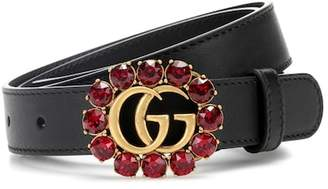 Gucci Crystal-embellished leather belt