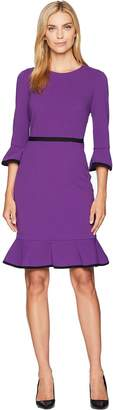 Donna Morgan Sheath Dress with Flounce and Piping Women's Dress