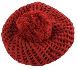 Pop Fashionwear Inc Winter Knit Warm Beret Crochet Beanie with Fuzzy Ball Top 811HB