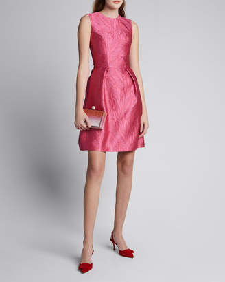 Monique Lhuillier Palm Jacquard Taffeta Fit-and-Flare Dress