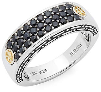 Effy Men's Black Sapphire 18K Yellow Gold And Sterling Silver Pave Ring