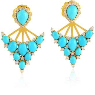 Artisan 18K Gold Earring With Turquoise & Pave Diamond