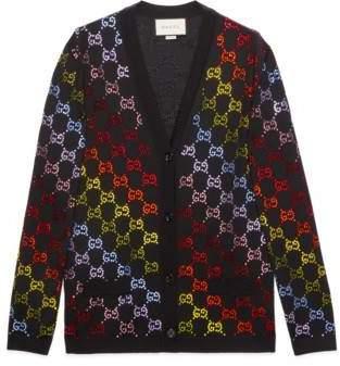 Gucci Wool cardigan with GG rhinestone motif