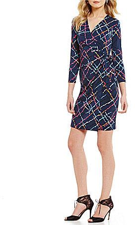 Anne KleinAnne Klein Matte Jersey Surplice Neck Printed Faux Wrap Dress