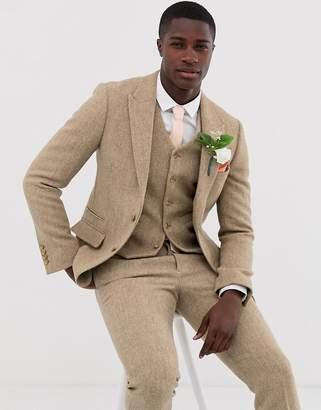 Asos Design DESIGN slim suit jacket in 100% wool Harris Tweed in camel