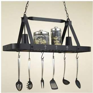 Hi-Lite Fleur de Lis Rectangular Hanging Pot Rack with 2 Lights Accent