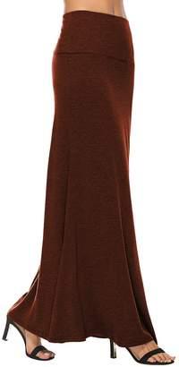 YiLiQi Women's Lightweight Floor Length Fish Tail Folding Stylish Maxi Skirt -S