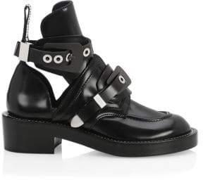 Balenciaga Creeper Leather Buckle Combat Boots