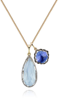 Larkspur & Hawk Lady Emily Double Cluster Charm Necklace, Chambray/Cobalt
