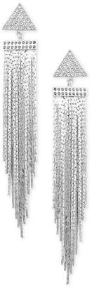 GUESS Silver-Tone Crystal Triangle Chain Drop Earrings