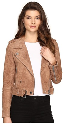 Blank NYC - Camel Suede Moto Jacket in Coffee Bean Women's Coat $198 thestylecure.com