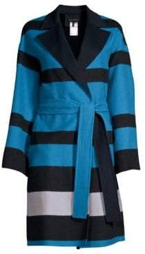 Escada Madras Striped Double-Faced Wrap Coat