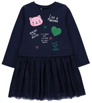 George Navy Sweatshirt Tulle Skirt Dress
