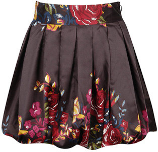 Silky Floral Bubble Skirt