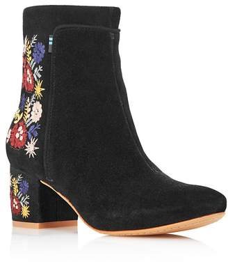 Toms Women's Evie Embroidered Suede Booties - 100% Exclusive