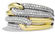 David Yurman Labyrinth Triple-Loop Ring with Diamonds and Gold $2,700 thestylecure.com