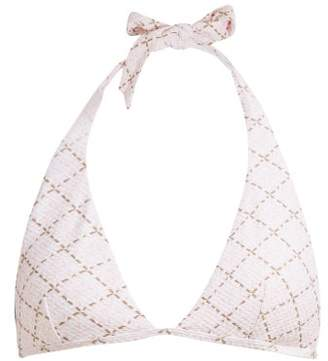 Heidi Klein Geometric Print Cloque Halterneck Bikini Top - Womens - Pink