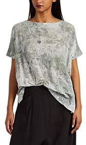Pas De Calais Women's Tie-Dyed Cotton Gauze Dolman T-Shirt - Green