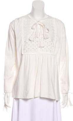 Apiece Apart Eyelet Accent Long Sleeve Top
