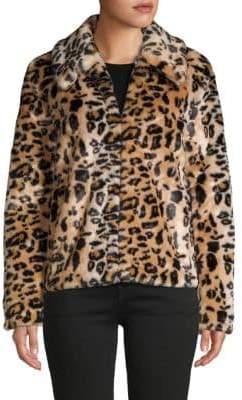Saks Fifth Avenue Leopard Faux Fur Jacket