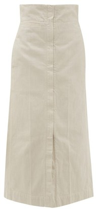 Lemaire High Rise Denim Maxi Skirt - Womens - Ivory