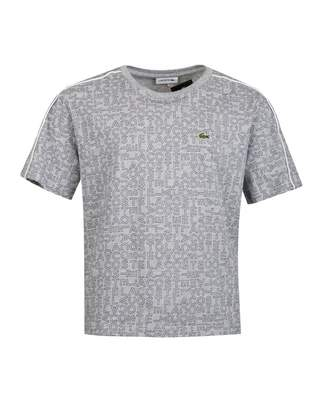 Lacoste Piping Detail All Over Logo T-shirt Colour: GREY, Size: Age 2
