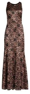 Laundry by Shelli Segal Women's Lace& Sequin Mermaid Maxi Dress - Dusty Blush - Size 0