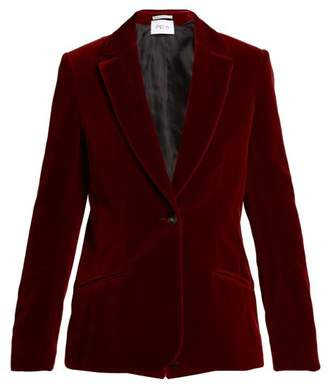 Pallas X Claire Thomson Jonville X Claire Thomson-jonville - Declic Single Breasted Velvet Blazer - Womens - Dark Red