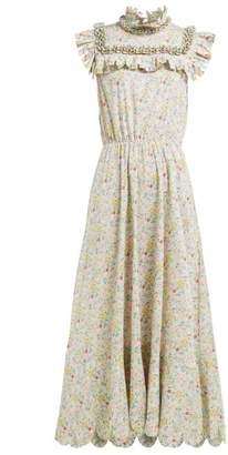 Horror Vacui Hilaria Floral Print Cotton Midi Dress - Womens - Green Multi