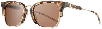 Calvin Klein Square Acetate & Titanium Logo-Engraved Sunglasses