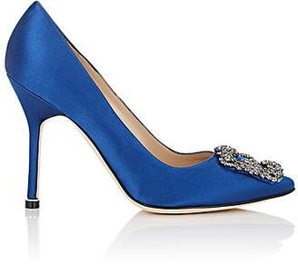 Manolo Blahnik Women's Hangisi Pumps - Blue Satin