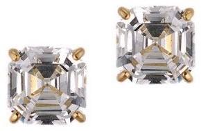 Diamonique 3.00 ct tw Asscher Stud Earrings, 14K Gold