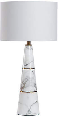 Interlude Dex Marble Table Lamp - White/Brass
