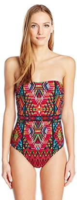 Nanette Lepore Women's Slim Mayan Mosaic Seductress Bandeau One Piece Swimsuit
