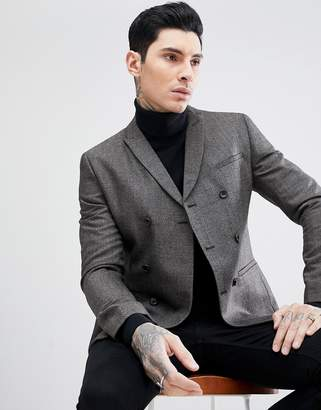 Asos DESIGN skinny double breasted blazer in gray texture