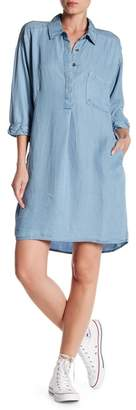 Love Stitch Denim Elbow Sleeve Shirt Dress