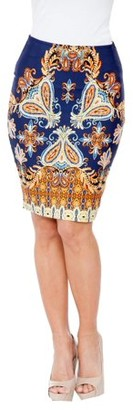 White Mark Women's Vibrant Printed Pencil Skirt