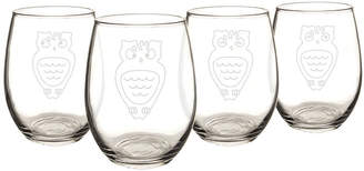 Cathy's Concepts CATHYS CONCEPTS Owl Set Of 4 Stemless Wine Glasses