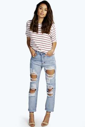 boohoo Sara Light Blue Large Rip Boyfriend Jeans