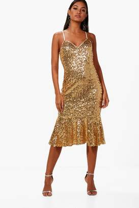 boohoo Boutique Sophie Sequin Frill Hem Midi Dress