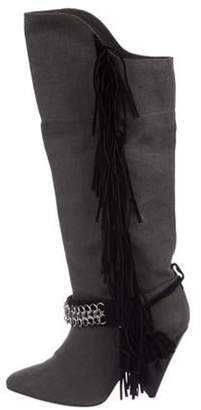 Isabel Marant Canvas Pointed-Toe Knee-High Fringe Boots Grey Canvas Pointed-Toe Knee-High Fringe Boots